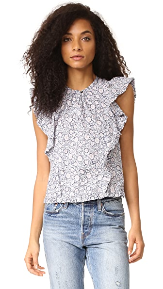 La Vie Rebecca Taylor Sleeveless Print Voile Blouse - Chrysanthemum Floral at Shopbop