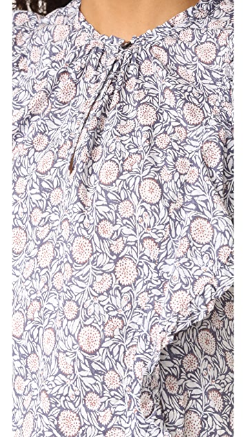 La Vie Rebecca Taylor Sleeveless Print Voile Blouse