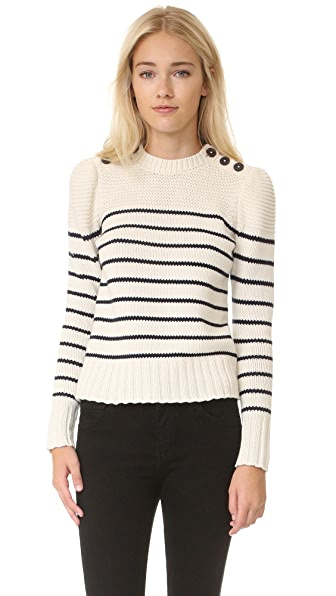 La Vie Rebecca Taylor Cotton Stripe Pullover - Chalk With Navy Stripes at Shopbop