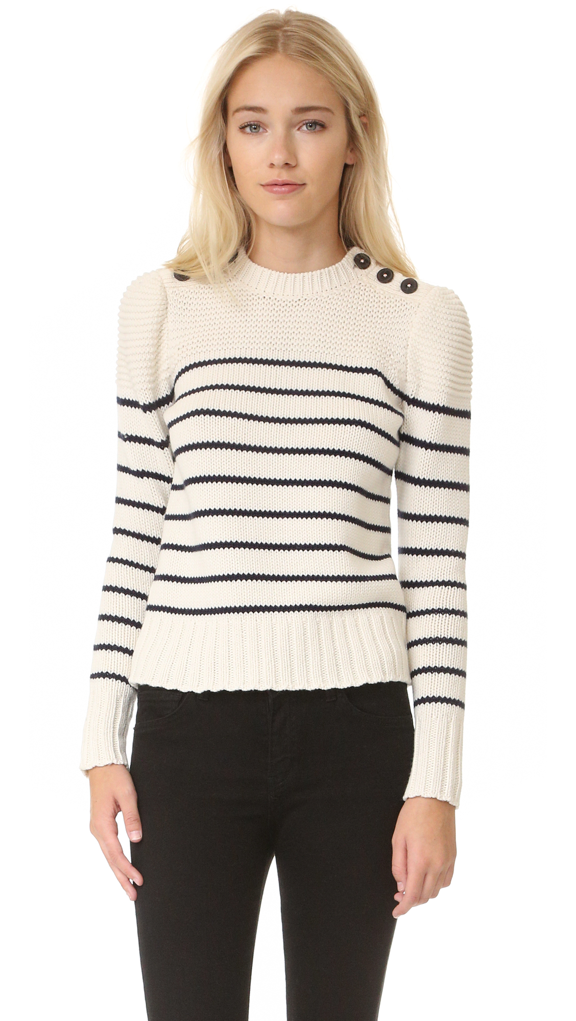 La Vie Rebecca Taylor Cotton Stripe Pullover - Chalk With Navy Stripes at Shopbop