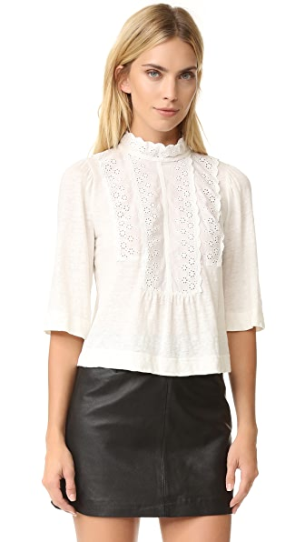 La Vie Rebecca Taylor Long Sleeve Linen and Lace Tee