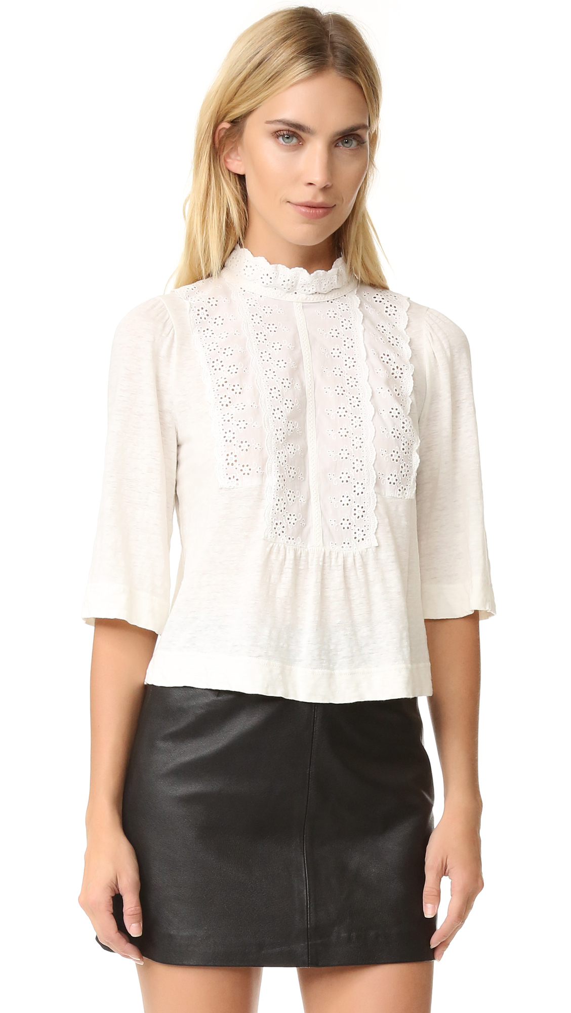 La Vie Rebecca Taylor Long Sleeve Linen And Lace Tee - Chalk at Shopbop