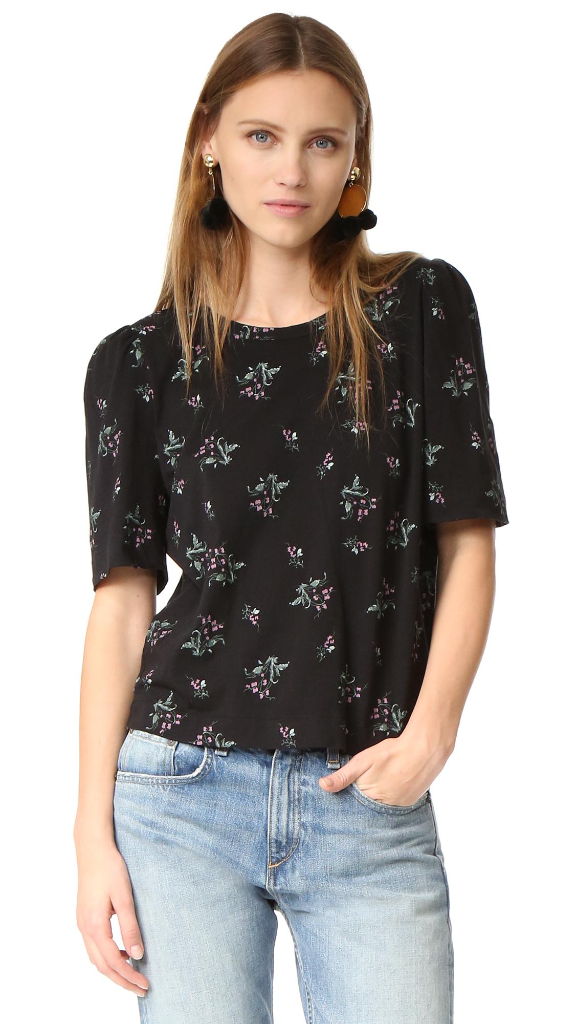 La Vie Rebecca Taylor Short Sleeve Antique Floral Tee - Washed Black at Shopbop