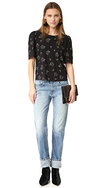 La Vie Rebecca Taylor Short Sleeve Antique Floral Tee
