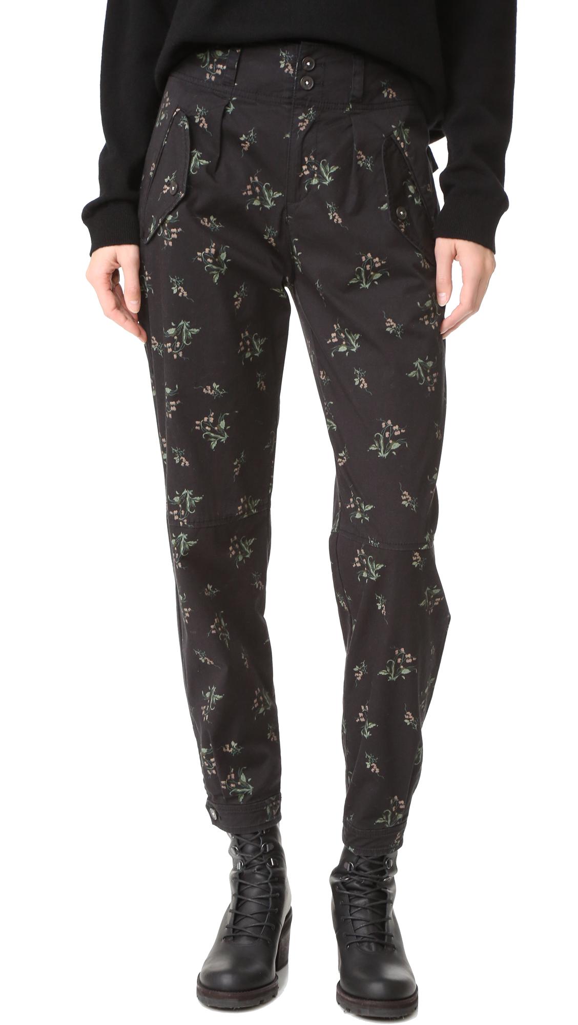 La Vie Rebecca Taylor Floral Odette Pants - Washed Black at Shopbop