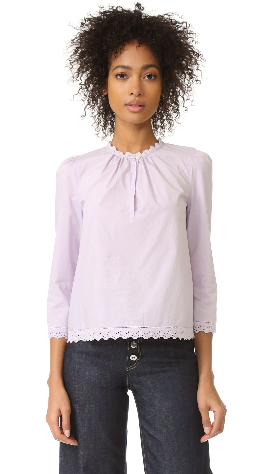 La Vie Rebecca Taylor Long Sleeve Pop Top With Eyelet Detail - Wisteria at Shopbop