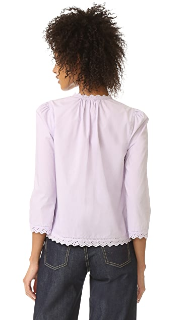 La Vie Rebecca Taylor Long Sleeve Pop Top with Eyelet Detail