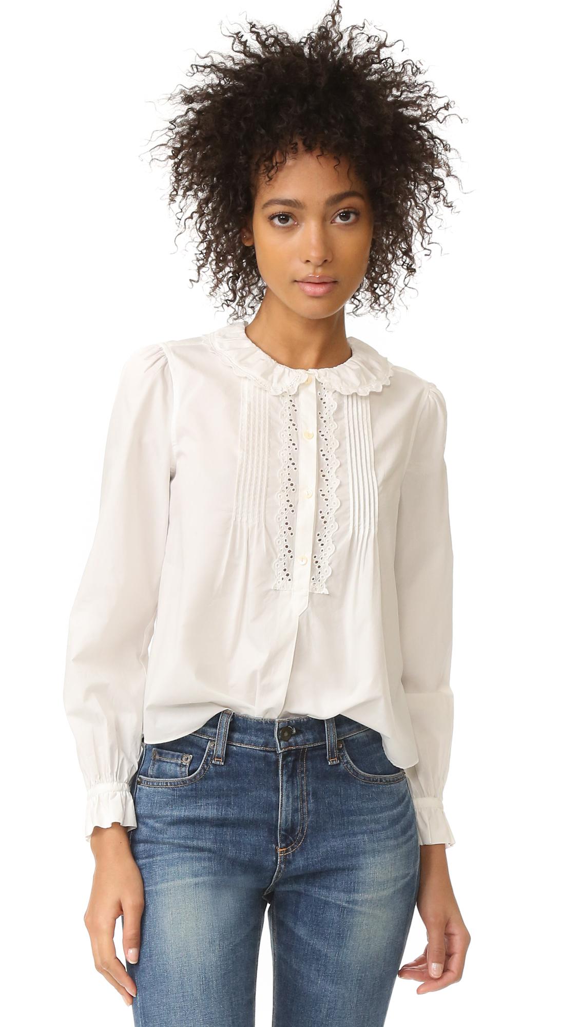 La Vie Rebecca Taylor Long Sleeve Pop Collar Top - Snow at Shopbop