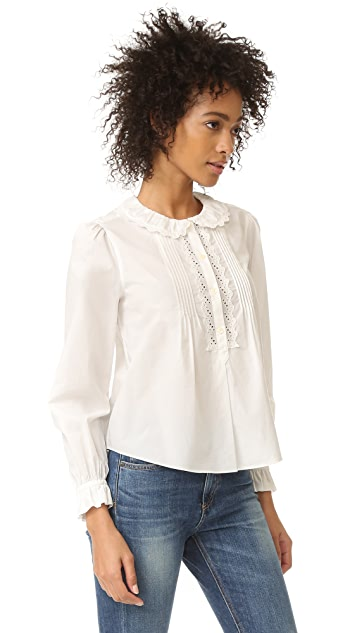 La Vie Rebecca Taylor Long Sleeve Pop Collar Top