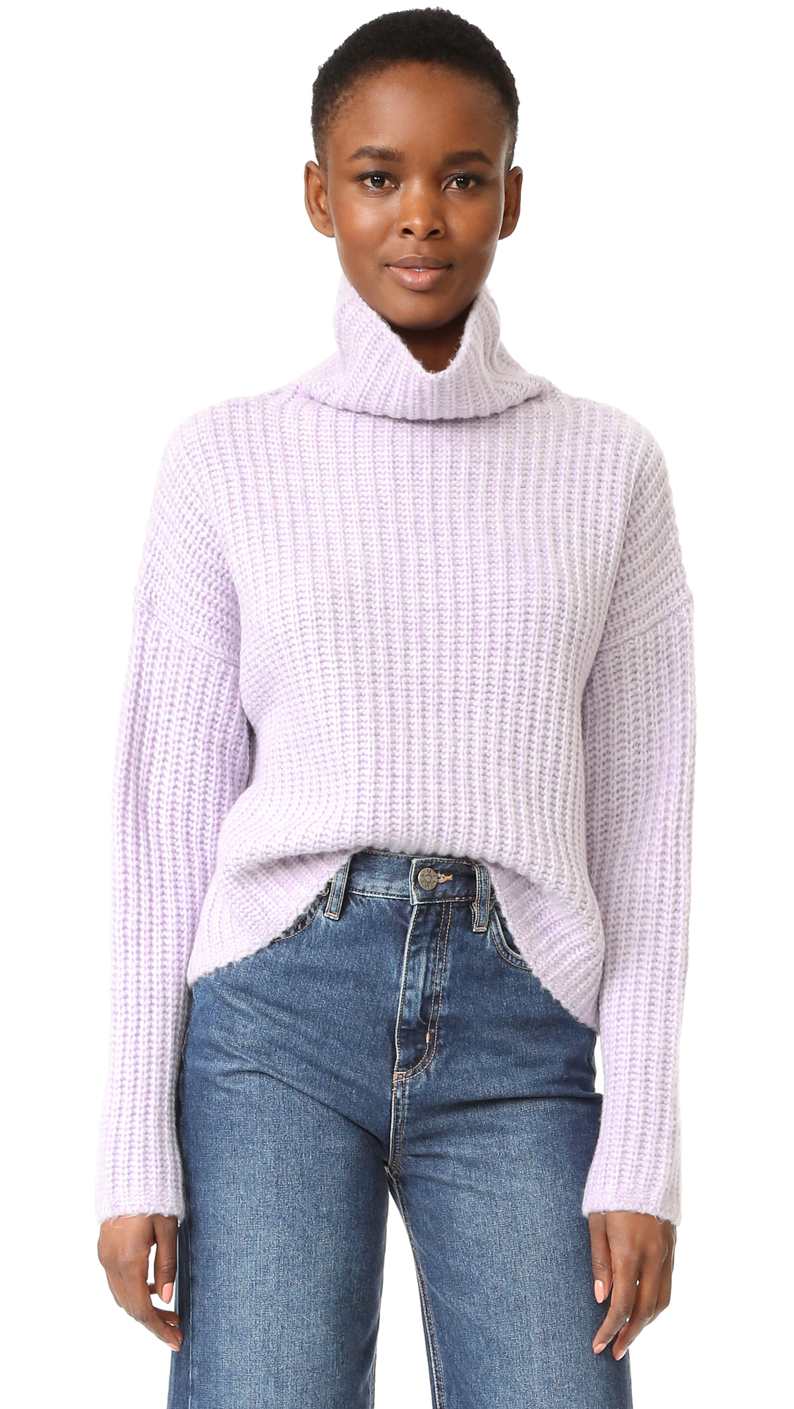 A cropped La Vie Rebecca Taylor turtleneck sweater, composed of soft, ribbed knit. Dropped shoulder seams and long sleeves. Fabric: Ribbed knit. 38% acrylic/36% nylon/18% wool/8% yak hair. Hand wash. Imported, China. Measurements Length: 19in / 48cm, from