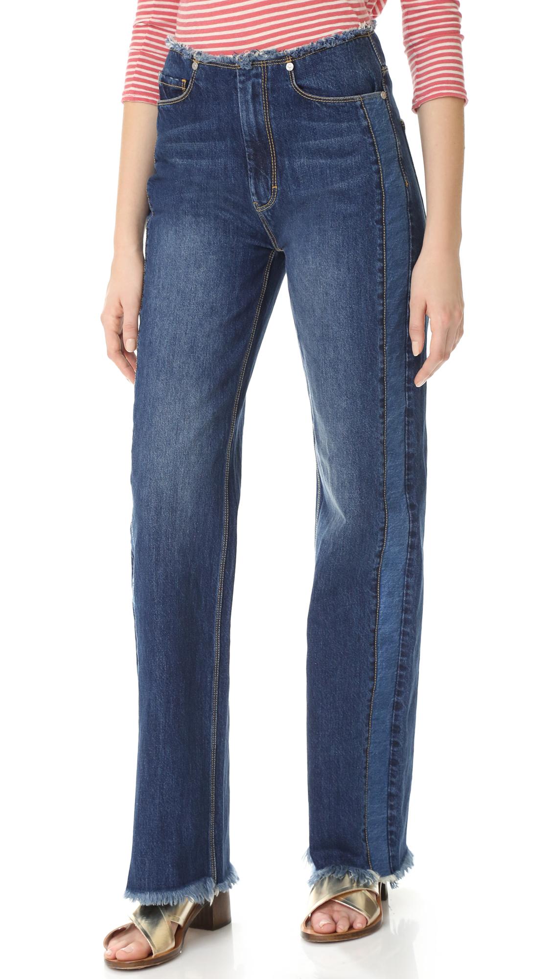 La Vie Rebecca Taylor Raw Edge Denim Jeans - Indigo Combo at Shopbop