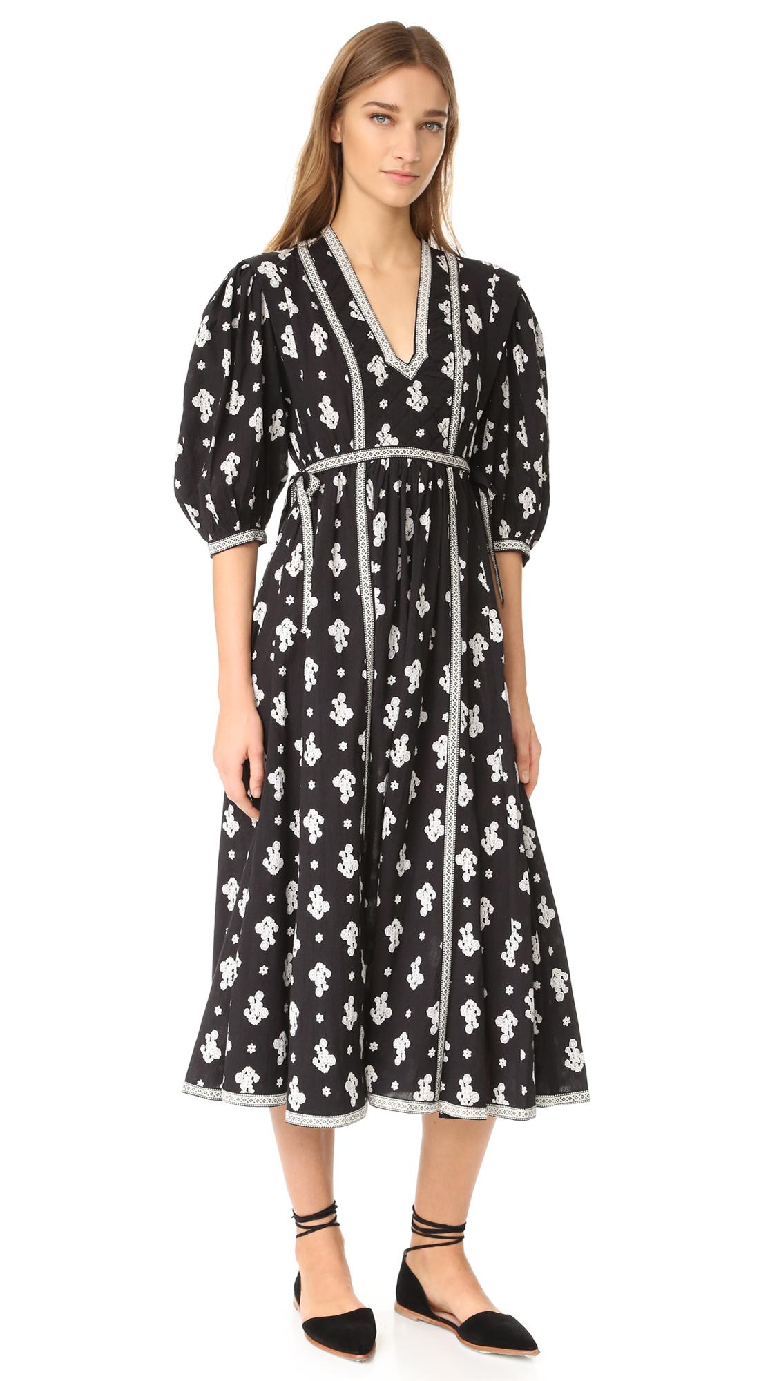 La Vie Rebecca Taylor Long Sleeve Blanche Fleur Dress - Black Combo at Shopbop