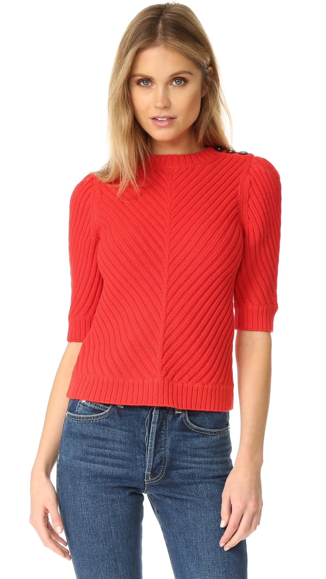 b6d84ed821a La Vie Rebecca Taylor Rib Sweater - Poppy