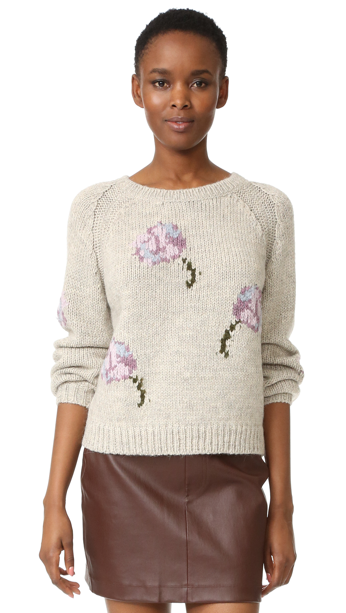 bbf3de125c7 La Vie Rebecca Taylor Floral Intarsia Pullover - Light Grey Melange