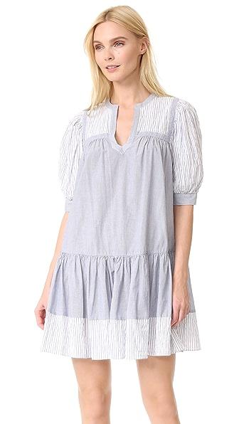 La Vie Rebecca Taylor Short Sleeve Mixed Stripe Dress