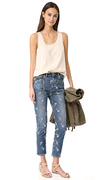 La Vie Rebecca Taylor Embroidered Straight Ankle Jeans