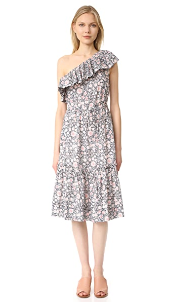 La Vie Rebecca Taylor One Shoulder Ruffle Floral Dress - Washed Black