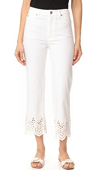 La Vie Rebecca Taylor Eyelet High Rise Straight Jeans