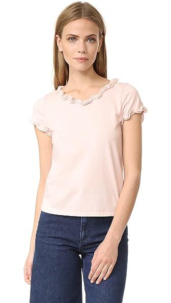 La Vie Rebecca Taylor Short Sleeve Ruffle Tee - Shell Pink
