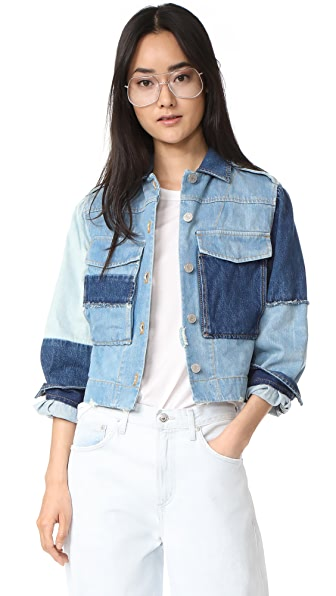 La Vie Rebecca Taylor Patched Denim Jacket In Patched Indigo