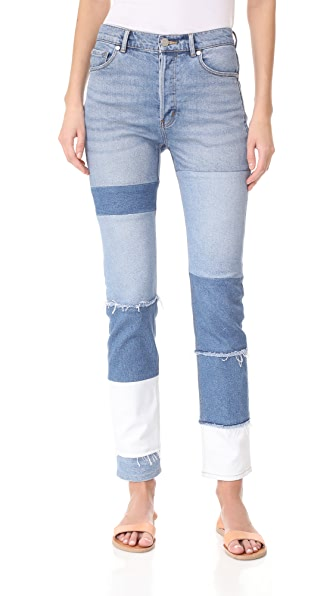 La Vie Rebecca Taylor Patched Mid Rise Straight Ankle Jeans - Patched Indigo