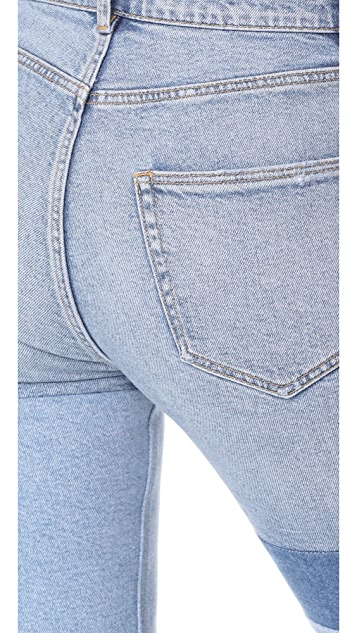 La Vie Rebecca Taylor Patched Mid Rise Straight Ankle Jeans