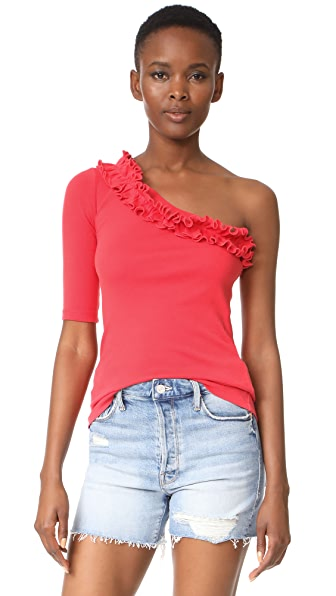 La Vie Rebecca Taylor One Shoulder Ribbed Jersey Top