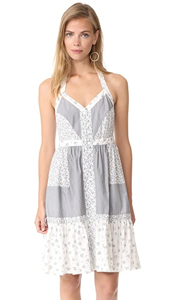 La Vie Rebecca Taylor Sleeveless Breeze Halter Dress - Milk Combo