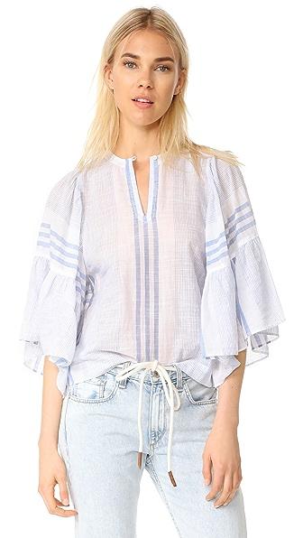 La Vie Rebecca Taylor Short Sleeve Variegated Stripe Top