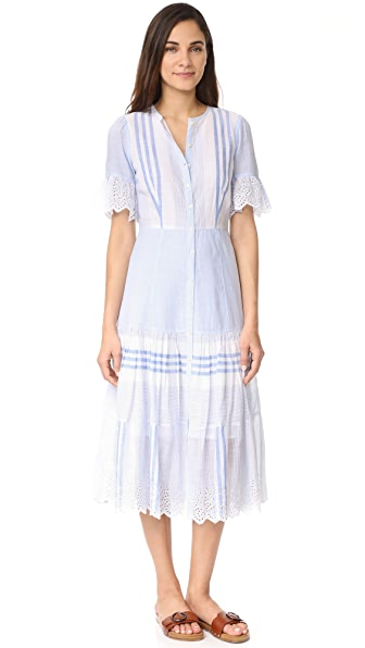 La Vie Rebecca Taylor Short Sleeve Stripe Dress - Blue Combo
