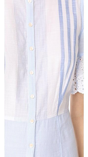 La Vie Rebecca Taylor Short Sleeve Stripe Dress