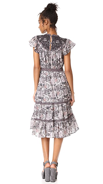 La Vie Rebecca Taylor Sleeveless Indochine Embroidery Dress