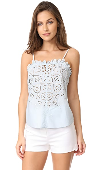 La Vie Rebecca Taylor Sleeveless Anabelle Eyelet Top In Morning Blue