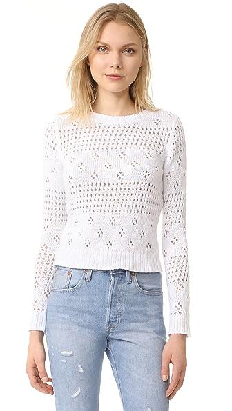 La Vie Rebecca Taylor Pointelle Pullover In White