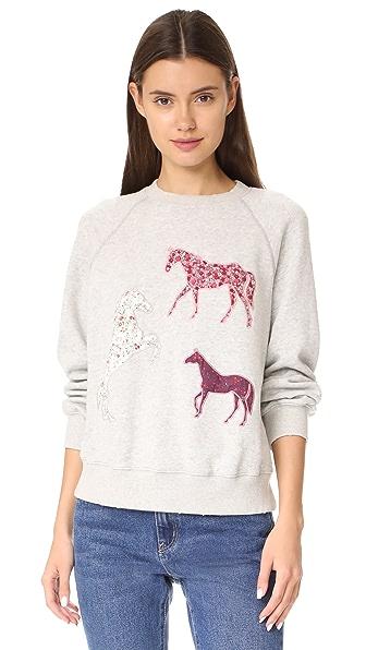 La Vie Rebecca Taylor Applique Sweatshirt In Grey Heather