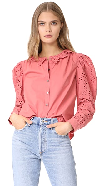 La Vie Rebecca Taylor Long Sleeve Eyelet Poplin Top In Tea Rose