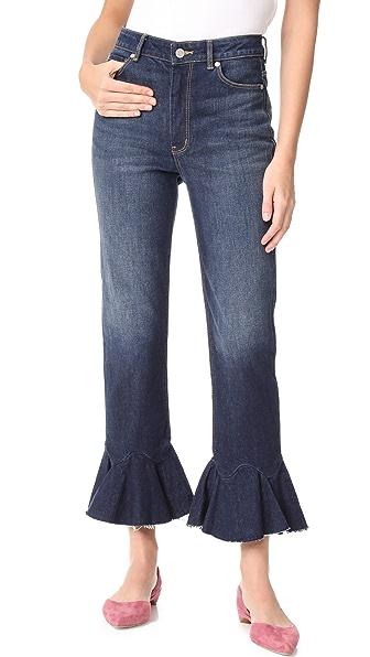 La Vie Rebecca Taylor Ruffle Bottom Jeans - Blue Midnight Wash