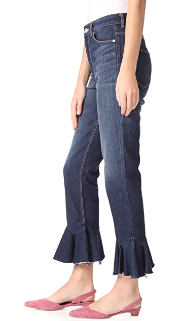 La Vie Rebecca Taylor Ruffle Bottom Jeans