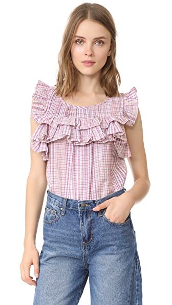 La Vie Rebecca Taylor Short Sleeve Plaid Top - Tea Rose Combo