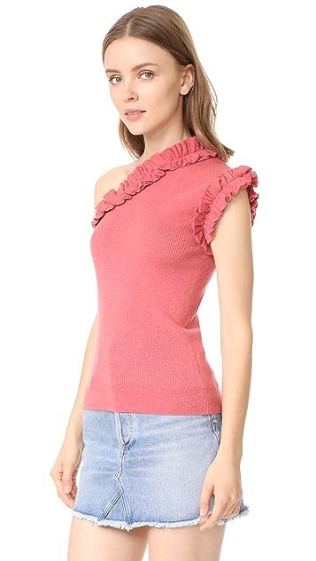 La Vie Rebecca Taylor One Shoulder Cozy Top
