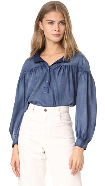 La Vie Rebecca Taylor Long Sleeve Tissue Denim Top - Indigo
