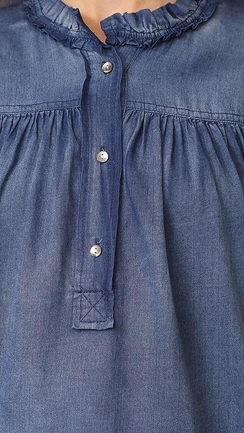 La Vie Rebecca Taylor Long Sleeve Tissue Denim Top