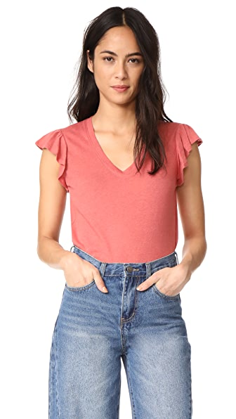 La Vie Rebecca Taylor Short Sleeve Washed Textured Jersey Top In Tea Rose