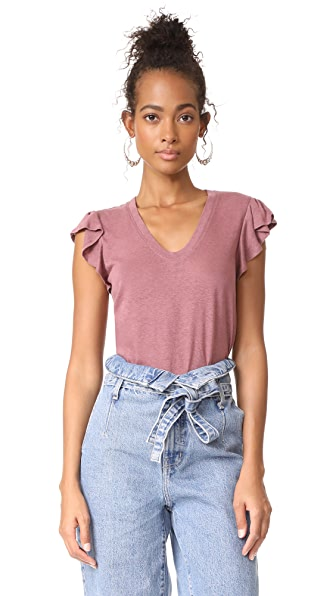 La Vie Rebecca Taylor Short Sleeve Washed Textured Jersey Top In Currant