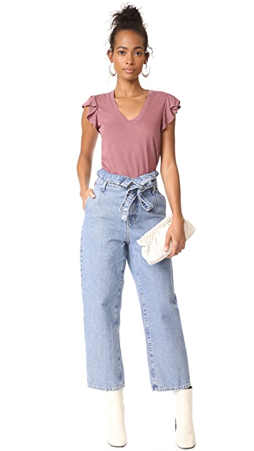 La Vie Rebecca Taylor Short Sleeve Washed Textured Jersey Top