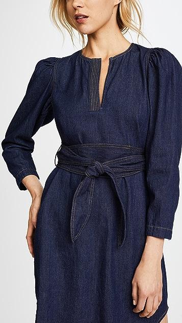 La Vie Rebecca Taylor Long Sleeve Denim Belt Dress