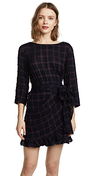 La Vie Rebecca Taylor Long Sleeve Metallic Plaid Dress at Shopbop
