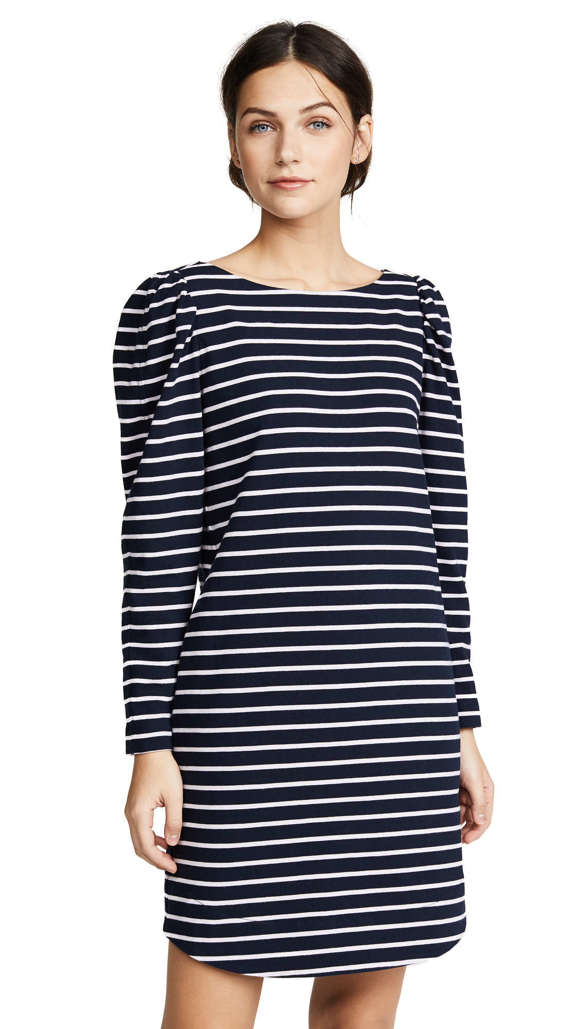 La Vie Rebecca Taylor Long Sleeve Yard Dyed Dress with Stripes In Midnight Navy Combo