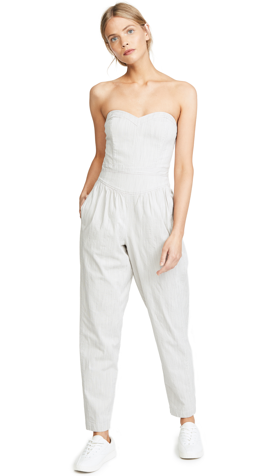 La Vie Rebecca Taylor Crisp Stripe Jumpsuit In Grey Combo