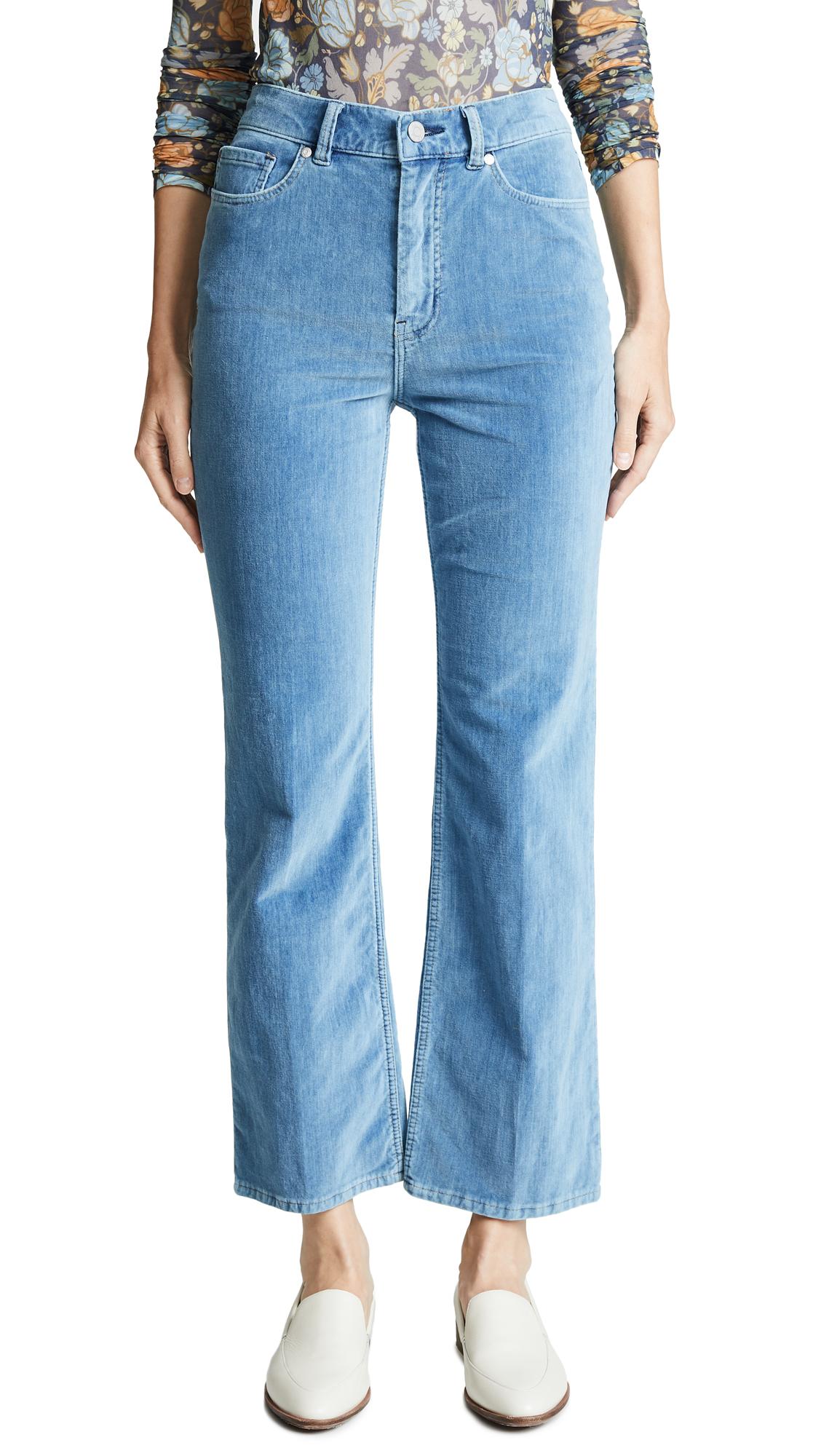 La Vie Rebecca Taylor Velveteen Jeans In Mid Tone Indigo